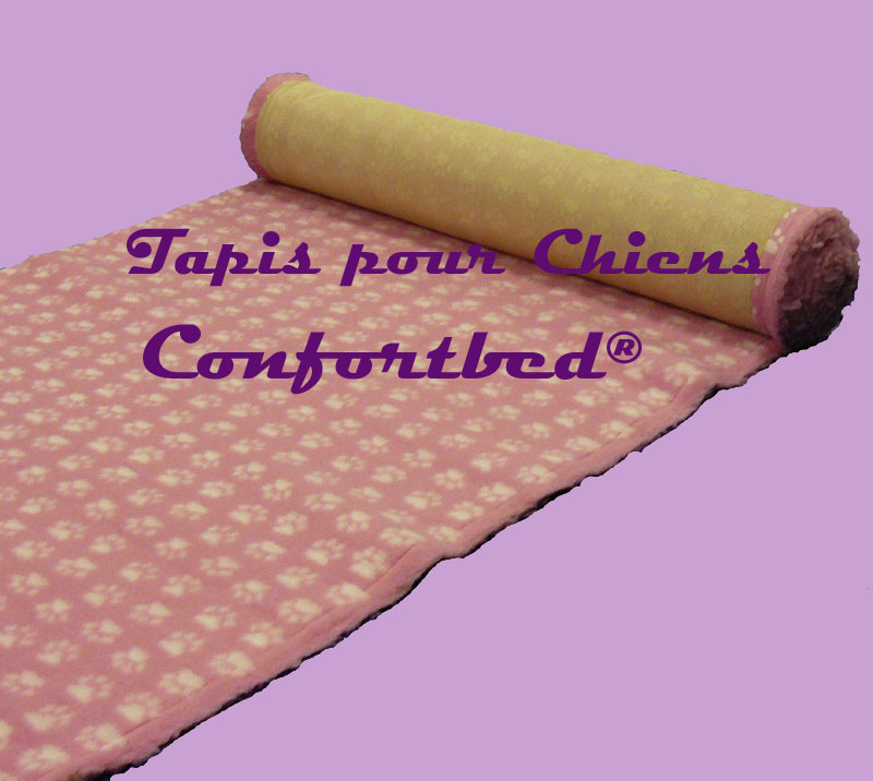 tapis confortbed vetbed dry anti-dérapant rose pattes blanches 26 mm à la coupe