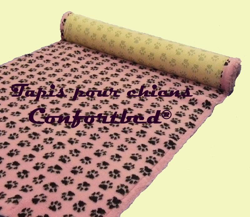 tapis confortbed vetbed dry anti-dérapant rose pattes noires 26 mm à la coupe