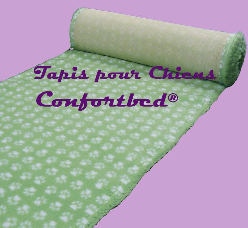 tapis confortbed vetbed dry anti-dérapant vert clair pattes blanches 26 mm à la coupe