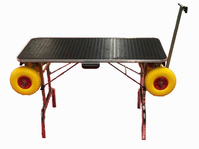 table de toilettage luxe transformable en trolley tout terrain pour expo canine