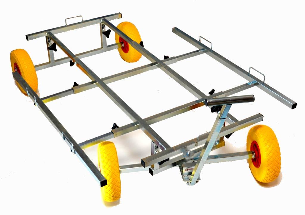 chariot trolley XL extensible tout terrain pour cage transport de chien