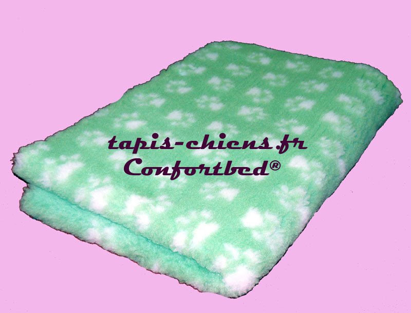 tapis confortbed vetbed dry anti-dérapant vert clair pattes blanches 75x100 cm 26 mm