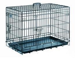 cage pliable métal noir bac metal pour le transport ou la niche du chien